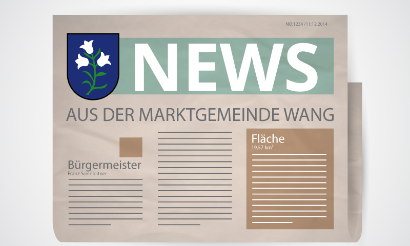 leicht abstrakte Zeitung der Marktgemeinde Wang